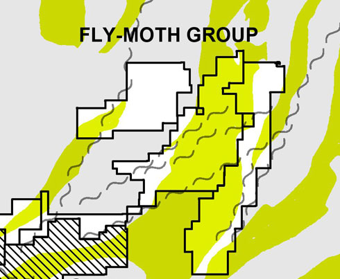 Location map of the Pistol Bay Fly Moth properties group